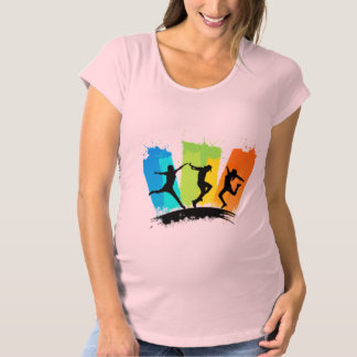 Jumping people silhouettes colorful - maternity T-Shirt