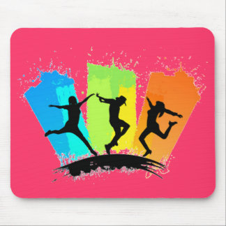 Jumping people silhouettes colorful - mouse pad