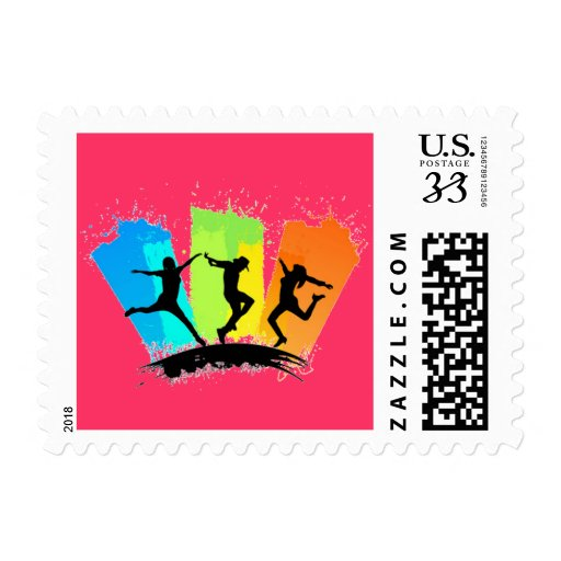 Jumping people silhouettes colorful - postage stamp