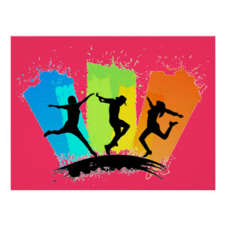 Jumping people silhouettes colorful - poster