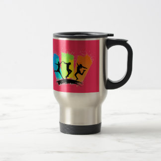 Jumping people silhouettes colorful - travel mug