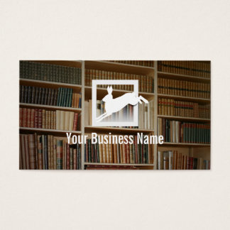 Jumping Rabbit Bookshelf Background Business Card