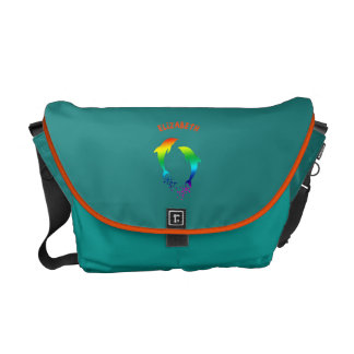 Jumping Rainbow Dolphins With Bubbles Courier Bag