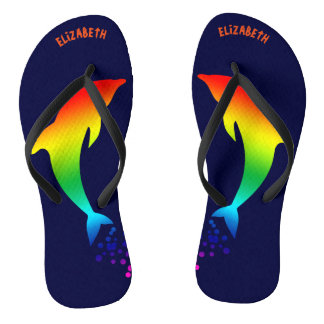 Jumping Rainbow Dolphins With Bubbles Flip Flops