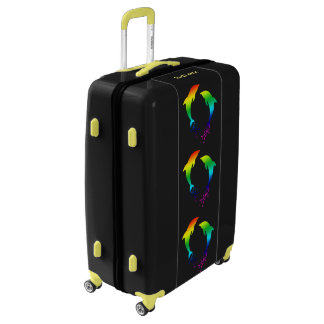 Jumping Rainbow Dolphins With Bubbles Luggage