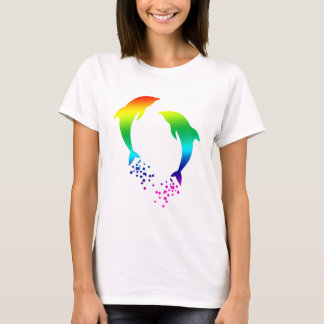 Jumping Rainbow Dolphins With Bubbles T-Shirt