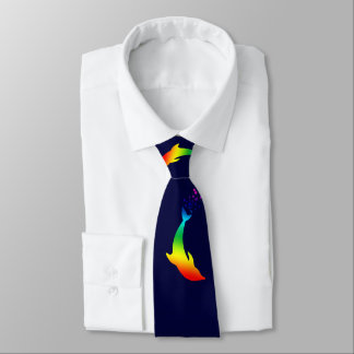 Jumping Rainbow Dolphins With Bubbles Tie