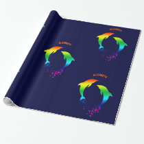 Jumping Rainbow Dolphins With Bubbles Wrapping Paper