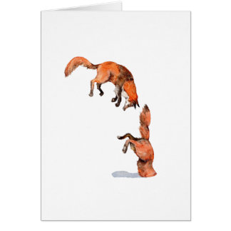 Jumping Red Fox Card