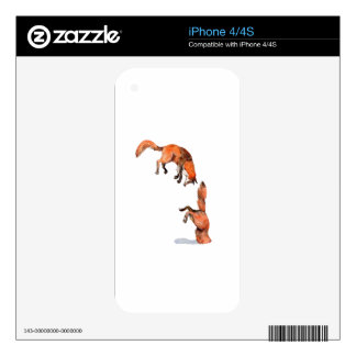 Jumping Red Fox Skin For iPhone 4