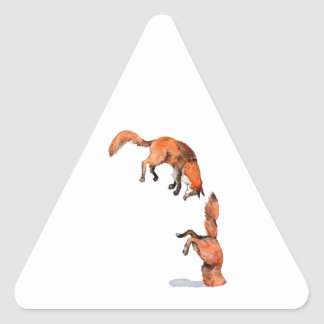 Jumping Red Fox Triangle Sticker