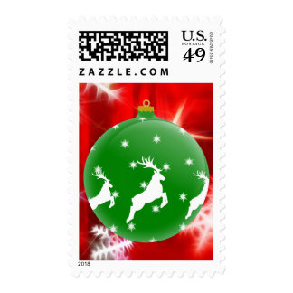 Jumping Reindeer Ornament Postage Stamps