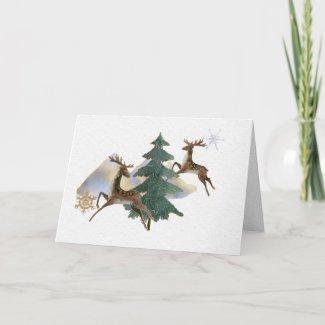 Jumping Reindeer Winter Landscape Greeting Card