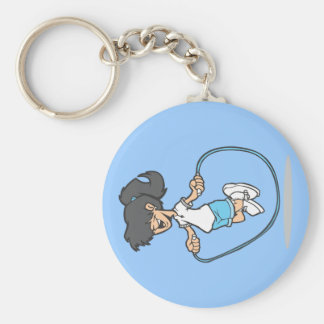 Jumping Rope Basic Round Button Keychain