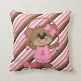 Jumping Rope Teddy Bear Breast Cancer Pillow