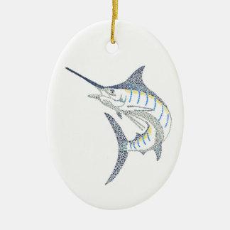 Jumping Saltwater Marlin Mosaic Ceramic Ornament