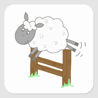 Jumping Sheep Square Sticker