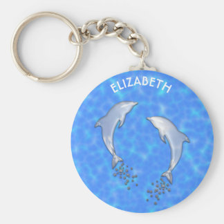 Jumping Sparkling Blue Dolphins With Bubbles Keychain