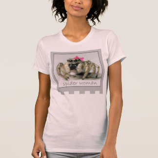 Jumping Spider wearing pink bow T-Shirt