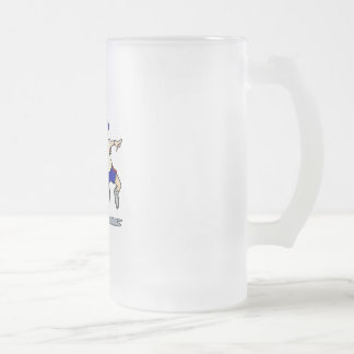 Jumping Tennis Kid Frosted Glass Beer Mug