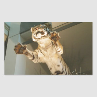 Jumping tiger - look at his paws! rectangular sticker