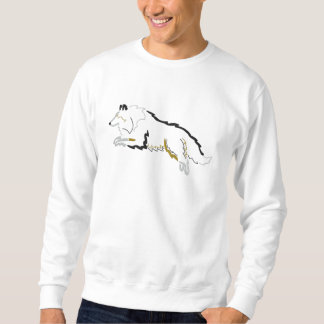 Jumping Tri Color Sheltie Embroidered Sweatshirt