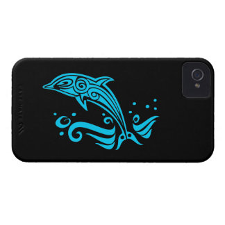 Jumping Tribal Blue Dolphin iPhone 4 Cover