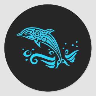 Jumping Tribal Blue Dolphin Classic Round Sticker