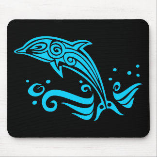 Jumping Tribal Blue Dolphin Mouse Pad