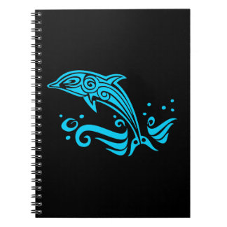 Jumping Tribal Blue Dolphin Spiral Notebook