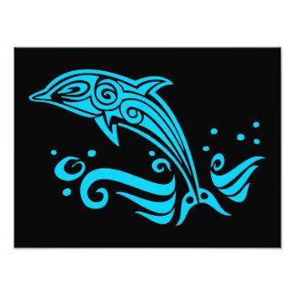 Jumping Tribal Blue Dolphin Photo Print