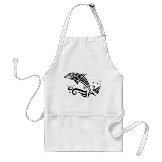 Jumping Tribal Dolphin Adult Apron