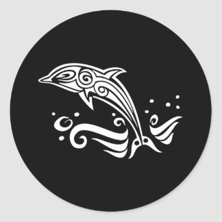 Jumping Tribal Dolphin Classic Round Sticker