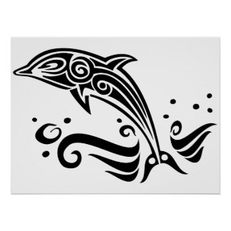 Jumping Tribal Dolphin Poster