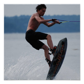 Jumping Wakeboarder Poster
