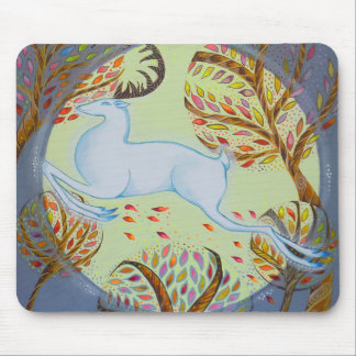 Jumping White Hart. Mouse Pads