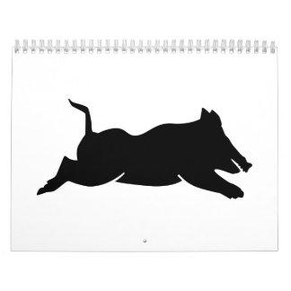 Jumping wild boar calendar