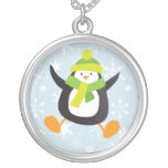 Jumping Winter Penguin with Snowflakes Pendant