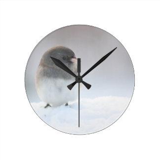 Junco in the snow round clock