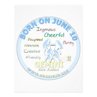 June 11th Birthday - Gemini Personalized Letterhead