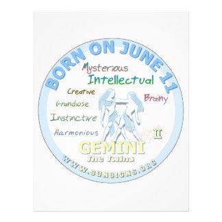 June 12th Birthday - Gemini Letterhead Design
