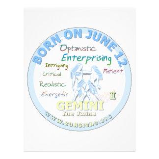 June 13th Birthday - Gemini Personalized Letterhead