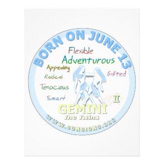 June 14th Birthday - Gemini Letterhead
