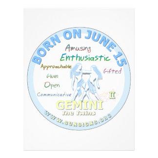 June 15th Birthday - Gemini Customized Letterhead