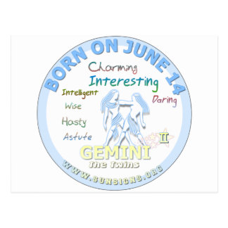 June 15th Birthday - Gemini Postcard