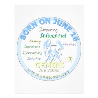 June 16th Birthday - Gemini Letterhead Design
