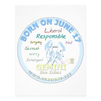 June 17th Birthday - Gemini Personalized Letterhead