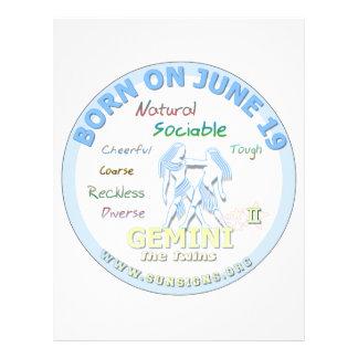 June 19th Birthday - Gemini Letterhead Design