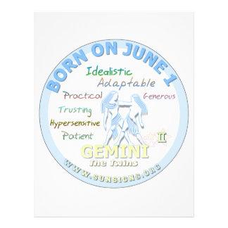 June 1st Birthday - Gemini Letterhead