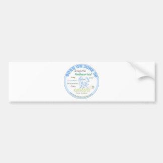 June 20th Birthday - Gemini Car Bumper Sticker